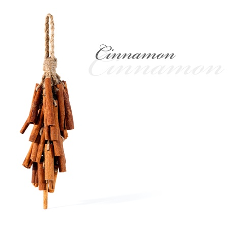 Dried cinnamon tied up and hanging, isolated with copy space  Stock Photo