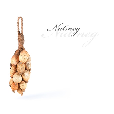 Dried nutmeg tied up and hanging, isolated with copy space