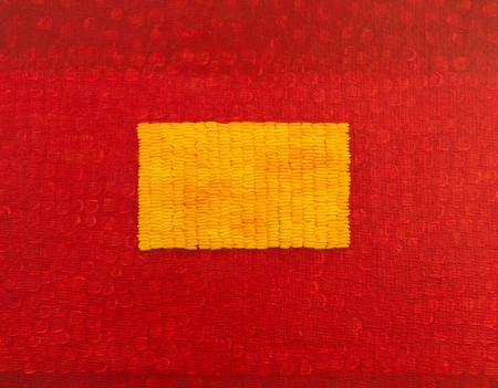 Red painting with rice