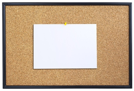 Corkboard with sheet of paper pinned  Stock Photo