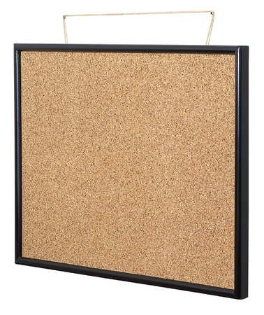 Empty cork board hanging
