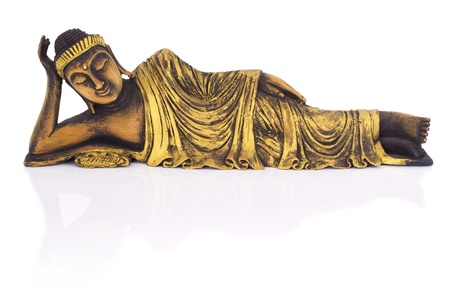 buddha tranquil: Teak wood lying buddha on white background