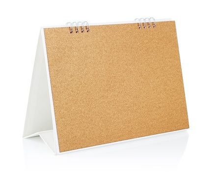 Blank desktop calendar standing on white background