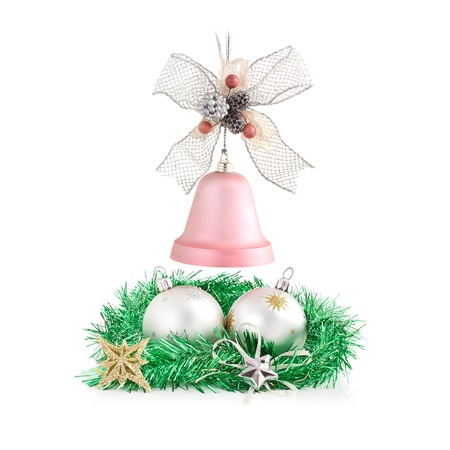 Christmas decorations arrangement isolated on white  Stock Photo