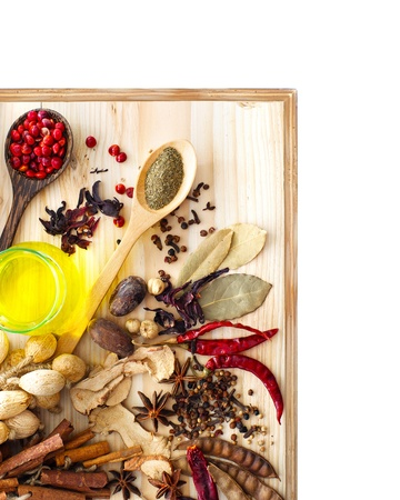 Spices assortment isolated on white background with copy space