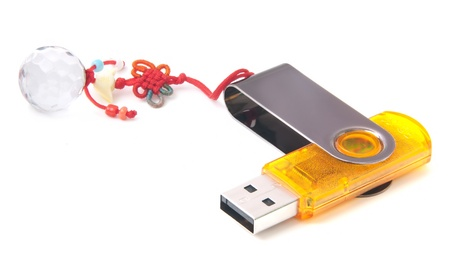 Flash drive with accessory isolated on white background