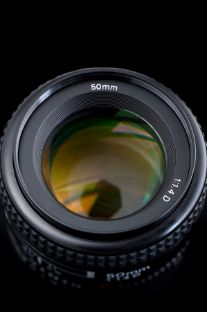 50mm lens view from the top on black background, closeup