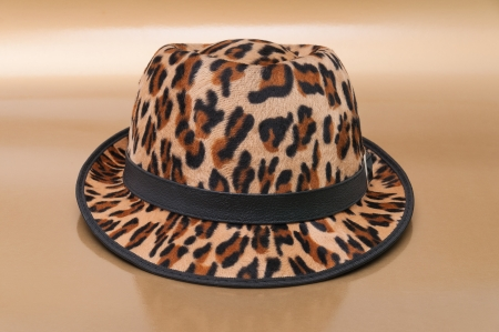 Leopard pattern hat on beige  background