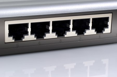 Network switch plugs closeup. Stock Photo