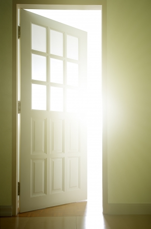Door opening into the bright light