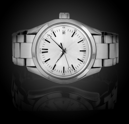 Wrist watch isolated on black background