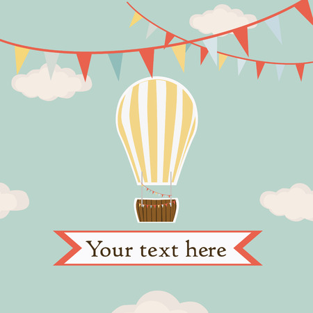 Hot air balloon, yellow with white stripe in the sky with garland background vector Vector