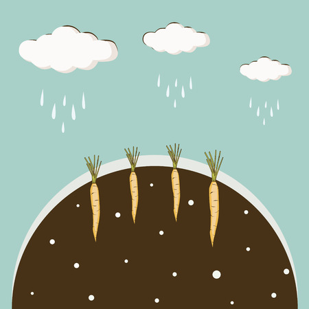 poured: Clouds poured rain the ground with a carrot background blue