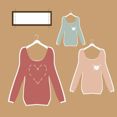 Three beautiful blouse hanging on hangers with painted hearts and tag in vintage style vector  Vector
