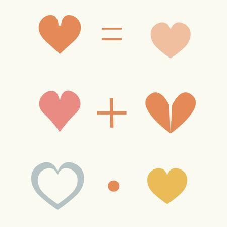 equals: Set nette Elemente, die bunte Herzen, Pluszeichen