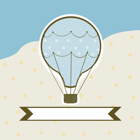 Sweet hot air balloon on a colored background with a sign for text Vector