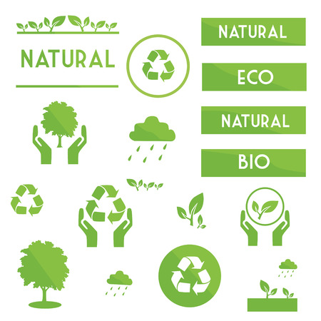 greenpeace: Ecological elements symbols and signs of green color on a white background Illustration