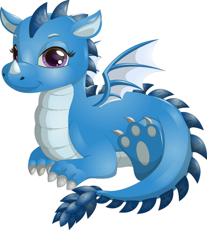 Little blue dragon with big eyes, fantasy creature isolated on white background.