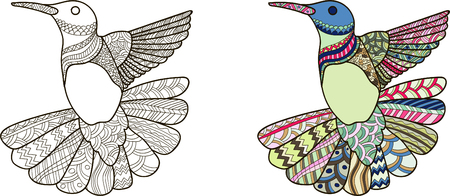 Drawing humming-bird style for coloring book, tattoo, shirt design, logo, sign. stylized illustration of a humming-bird in a tangle doodle style. Colorless and color samples for book cover.