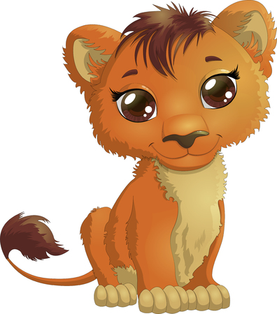 Adorable little lion with big brown eyes isolated on white background