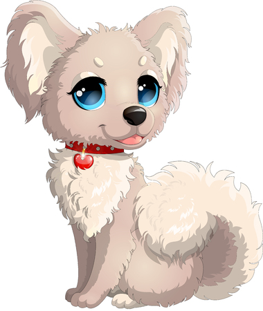Beatiful doggy with blue eyes and furry ears and tail, illustration of bolognese