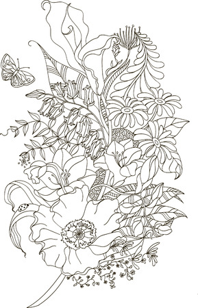 Abstract flower with zentangle style for coloring book, tattoo, shirt design, logo, sign. Stylized illustration of feather with calla and poppy in tangle doodle style. Colorless sample for book cover.