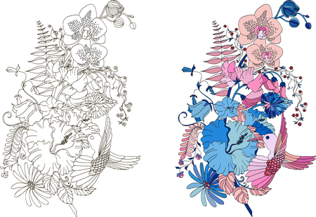 Abstract flower feather in  illustration style for coloring book, tattoo, shirt design, sign. Stylized illustration of feather with orchids, hibiscus and hummingbird in tangle doodle style. Colorless sample of feather for book cover. Colored sample of feather for book cover.
