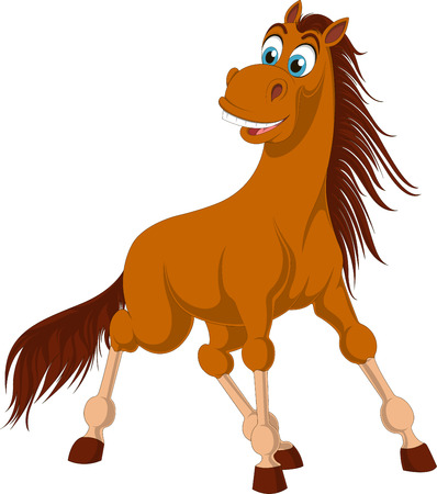 Illustration of brown horse with long tail. Surprised horse isolated on white background. Funny vector equine with blue eyes and fluffy tail.  イラスト・ベクター素材