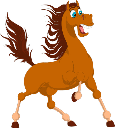 Illustration of standing brown horse with elevated tail. Feared horse isolated on white background. Funny scared vector tail with blue eyes and long tail.