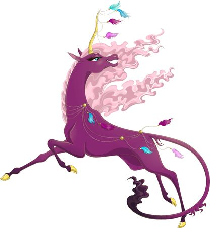 Vector unicorn with flying hair and golden horn. Illustration of smiling pink unicorn with long tail isolated on white background. Running wonder unicorn decorated with golden chains and airy feathers  イラスト・ベクター素材