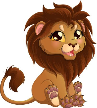 Adorable little lion with brown mane in a sitting position isolated on white background. Vector illustration of lion.
