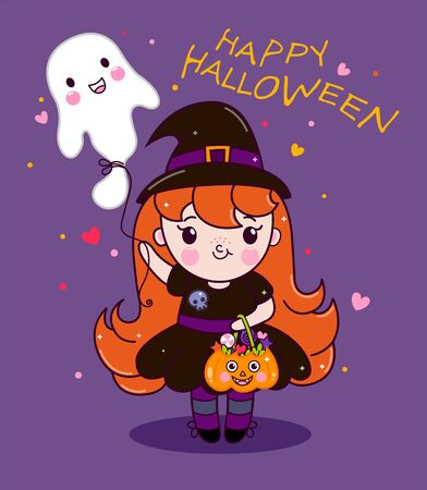 Cute halloween witch holding pumpkin basket and ball ghost. Vector illustration of baby girl character cartoon in beautiful dress with ghost and treats. Little kawaii witch character cartoon.