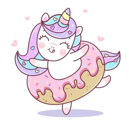 Cute unicorn dancing in doughnut. Illustration of little kawaii unicorn cartoon character in pastel flat colors. Easy flat style vector illustration. Patch, badge, pin or sticker. Illusztráció
