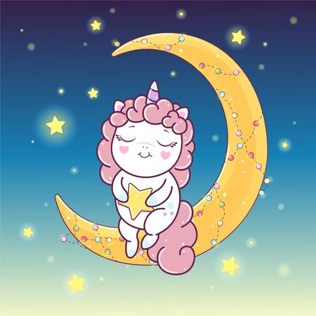 Kawaii pink unicorn sitting on the crescent moon in the blue background with stars. Illustration of little pink unicorn cartoon character making wish with star in pastel flat colors. Easy flat style vector illustration.