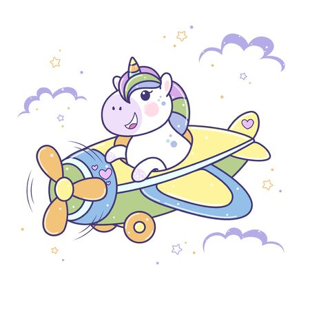 Lovely cute unicorn flies by plane. Illustration of little unicorn pilot cartoon character in pastel flat colors. Easy flat style vector illustration.