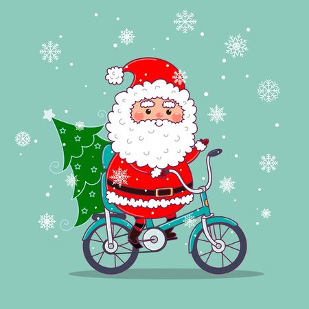 Cute Santa Claus on bicycle delivering Christmas tree. Christmas card design with santa riding a bike. Vector illustration in pastel flat colors.