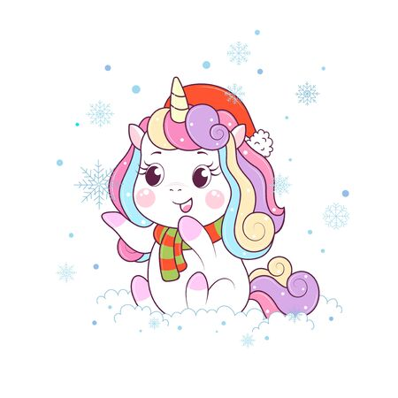 Greeting card with little unicorn dressed in a Santa hat. Hello winter time. Vector illustration. Design for greeting cards, t-shirt and other Foto de archivo - 134574138