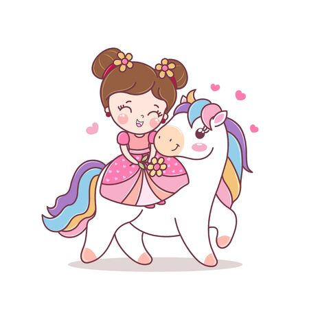 Cute medieval princess girl riding on a horse. Cute dress, crown and carnival costume. Invitation card. Cartoon style. Fairytale vector character.