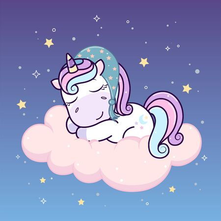 Cute unicorn in bed cap sleeping on cloud amongst stars. Vector kawaii unicorn sleep time. Illustration of little adorable unicorn cartoon character in pastel flat colors. Illustration