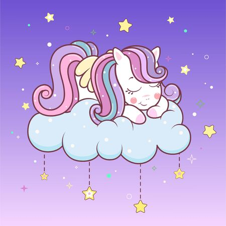 Cute unicorn sleeping on cloud with stars. Vector kawaii unicorn with wings sleep time. Illustration of little adorable unicorn cartoon character in pastel flat colors.