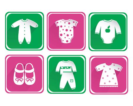 Set of children clothing white icons isolated on bright background