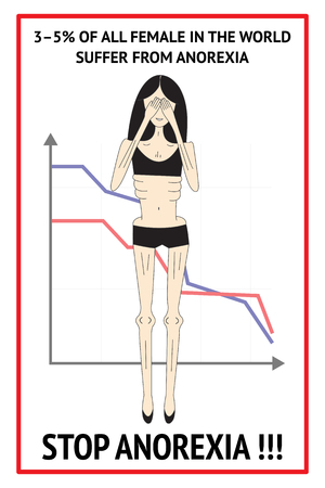 disorders: Anorexia nervosa infographic. Сan be used in materials about eating disorders. Slim woman silhouette, graph, information concerning anorexic.
