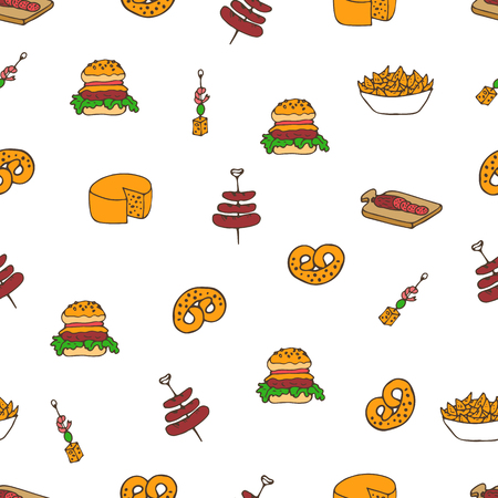 bagels: Hand drawn vector seamless snask pattern. Beer festival food doodles. Bagels, sandwiches, sausages and cheese. Can be used for backgrounds, fabric prints, scrapbooking, cards, design paper