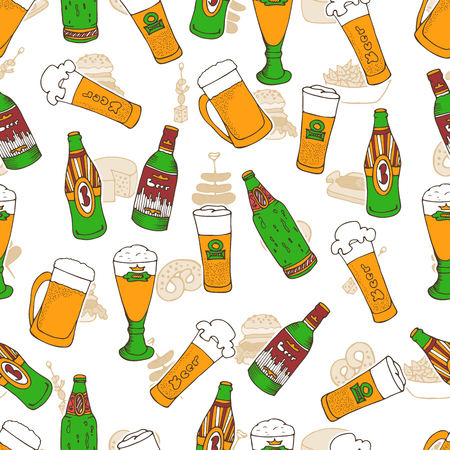 oktoberfest food: Hand drawn vector seamless Oktoberfest pattern. Beer festival doodles. Beer bottles, glasses, food and snacks. Can be used for backgrounds, fabric prints, scrapbooking, cards, design paper Illustration