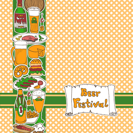 beer fest: Card template with doodle beer fest hand drawn elements: beer bottles, glasses, food and snacks. Oktoberfest sketch art. For invitations, greeting cards, wallpapers, backgrounds.