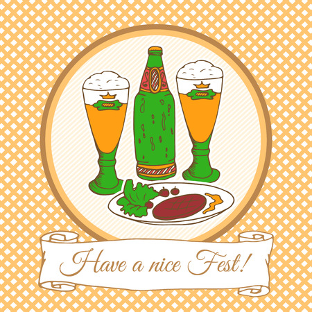 beer fest: Card template with doodle beer fest hand drawn elements: beer bottle, glasses, food. Oktoberfest sketch art. For invitations, greeting cards, wallpapers, backgrounds.