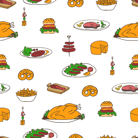 Hand drawn vector seamless meal pattern. Beer festival food doodles. Main courses, bagels, sandwiches, sausages. Can be used for backgrounds, fabric prints, scrapbooking, cards, design paper