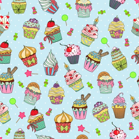 blueberry muffin: Hand drawn vector seamless pattern of cute yummy cupcakes. Can be used for fabric prints, scrapbooking, cards, design paper, backgrounds