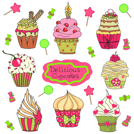 cupcakes isolated: Delicious yummy vector cupcakes, candy and  lollipops isolated on white background. Cartoon tasty cupcakes in bright colors Illustration
