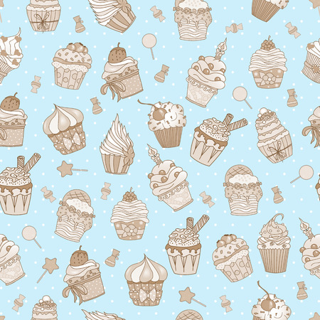 yummy: Hand drawn vector seamless pattern of cute yummy cupcakes. Can be used for fabric prints, scrapbooking, cards, design paper, backgrounds